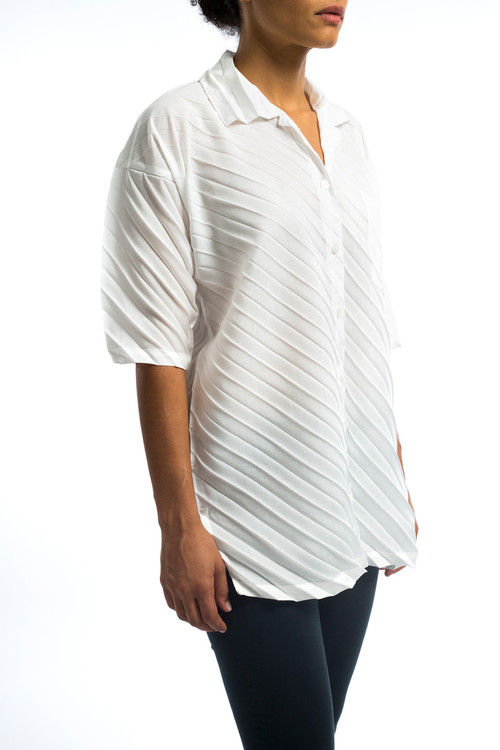Issey Pleated Button Down Blouse