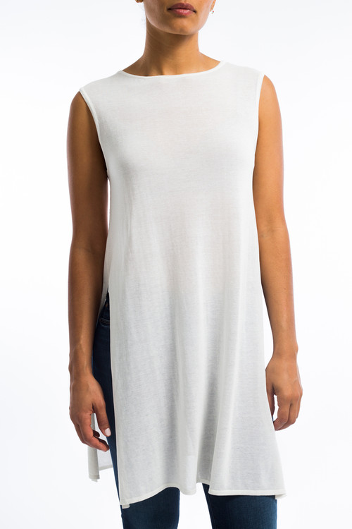 Sleeveless Tunic Top with Slits