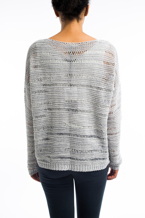 Cotton Linen Woven Gray Sweater