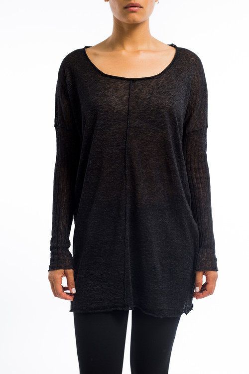 Long linen scoop neck sweater charcoal