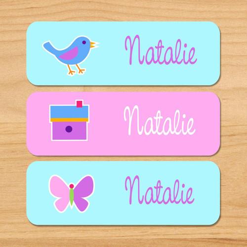 birdie personalized rectangle kids waterproof labels