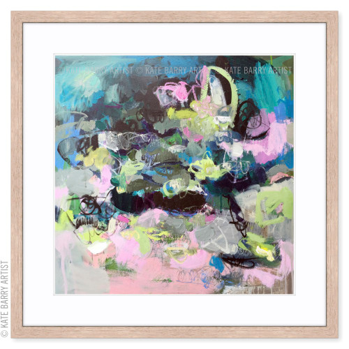 Scramble limited edition art print | Natural | Kate Barry Artist blues, pinks and lime