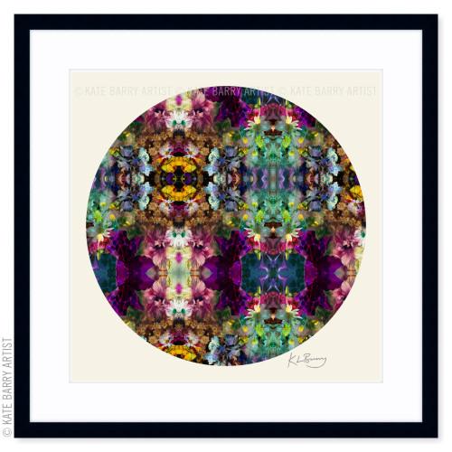 Floral Frenzy original digital work on neutral with black frame | Kate Barry Artist