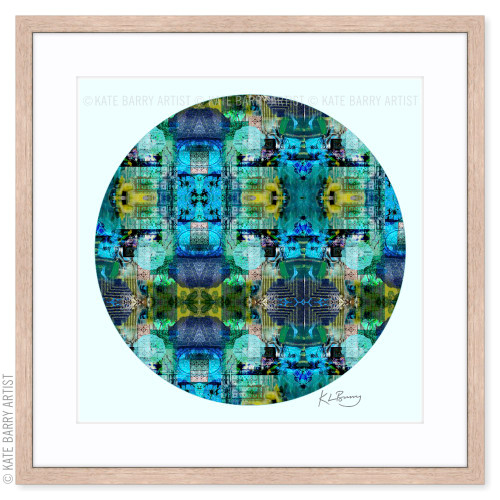 In the Shallows original digital work on blue with natural frame | Kate Barry Artist