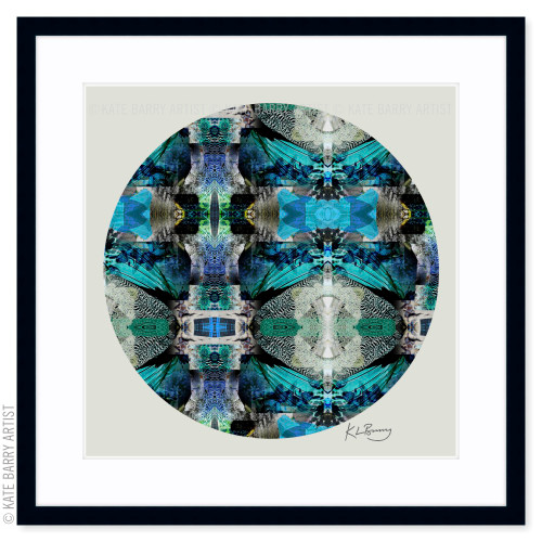 Speckled French Hen original digital work on green with black frame | Kate Barry Artist