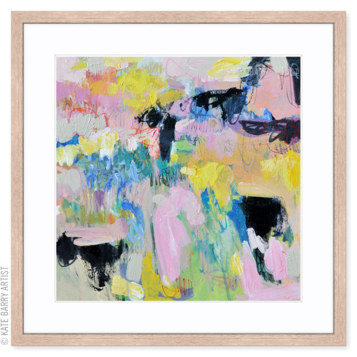 Spring Rain limited edition art print | Natural | Kate Barry Artist bright colours, paint drips
