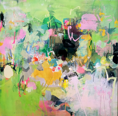 The Brush Off | 85 cm x 85 cm | Framed | Oil, acrylic and pastel on board