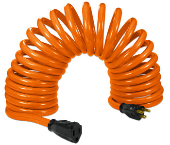 Flexy® Coiled Extension Cord Extends 10 in. to 20 ft. - 14 Gauge - 15 Amps