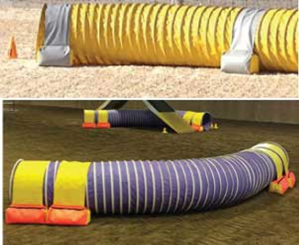 "Top: Gray and yellow tunnel bags at the BC/Yukon 2014 Regionals. Bottom: ""These are simply the best tunnel holders we've ever used."" Agility Ability, Sparks, NV"