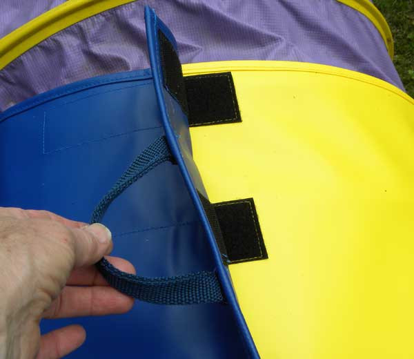 """Straps are fastened with 10"""" (25cm) of outdoor rated Velcro."""