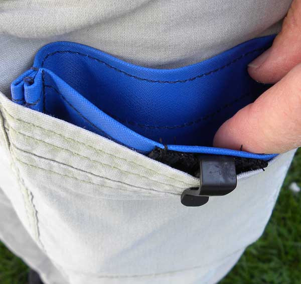 Clip goes to the outside and securely holds the pocket in place.