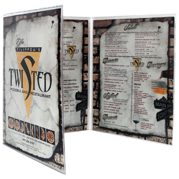 Triple foldout All Clear Menu Cover with Inserts