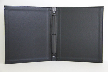 "Bonded Leather Three Ring Binder interior shows black 1/2"" mechanism"