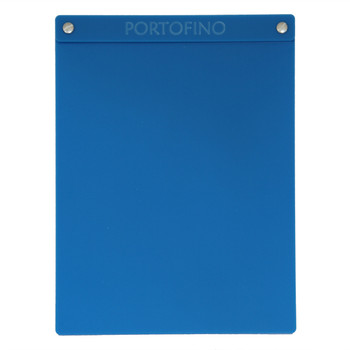 """Acrylic Menu Board with Screws 8.5"""" x 11"""" in Light Blue with laser engraved logo."""
