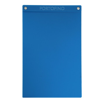 """Acrylic Menu Board with Screws 8.5"""" x 14"""" in Light Blue with laser engraved logo."""