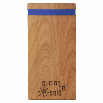 Solid alder wood check presenter with latex free rubber band and laser engraved logo.