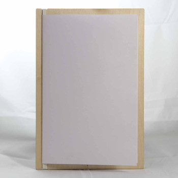 "Baltic Birch Wood Menu Board with Vertical Band 5.5"" x 8.5"" in natural finish with off white rubber band and menu insert page (8.5"" x 11"" folded to 5.5"" x 8.5"")"