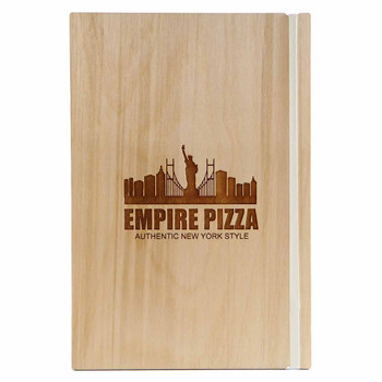 "Baltic Birch Wood Menu Board with Vertical Band 5.5"" x 8.5"" in natural finish with off white rubber band and laser engraved logo"
