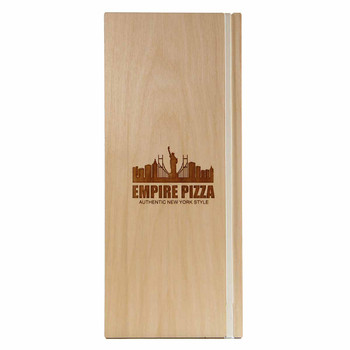 "Baltic Birch Wood Menu Board with Vertical Band 4.25"" x 11"" in natural finish with off white rubber band and laser engraved logo"