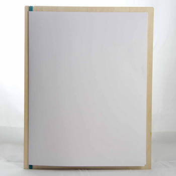 "Baltic Birch Wood Menu Board with Vertical Band 8.5"" x 11"" in natural finish with rubber band and menu insert page (11"" x 17"" folded to 8.5"" x 11"")"