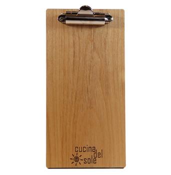 Alder wood check presenter with clip and laser engraved logo.