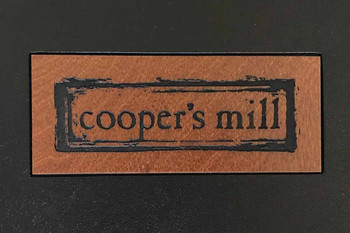 Die Cut Window with Wood Insert in Nutmeg Stain with Laser Engraved and Color Filled Logo