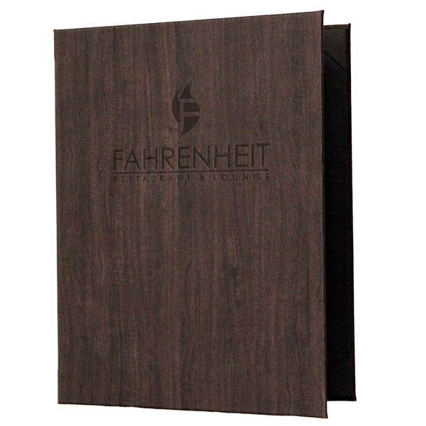 Wood Look Menu Cover Two View with Logo