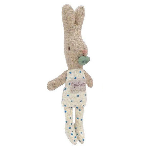 Micro Baby Bunny with Pacifier, Blue Polkadot