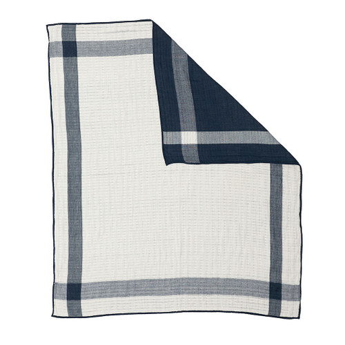 Quilted Muslin Blanket, Navy