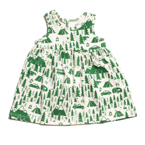 Organic Cotton Baby Tank Dress, Campground Green