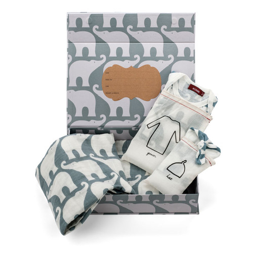 Organic Newborn Keepsake Gift Set, Blue Elephant