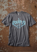THE ORIGINAL ROULEUR BREWING T-SHIRT – MALE – HEAVY METAL GREY WITH TEAL BLUE