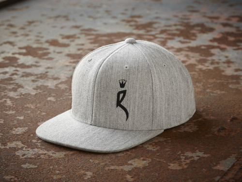 "ROULEUR BREWING ""R"" WITH FIVE-POINTED CROWN – SNAPBACK HAT – HEATHER GREY WITH BLACK"