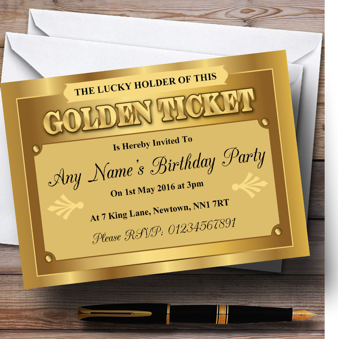 Golden Ticket Personalized Birthday Party Invitations - Red Heart Print