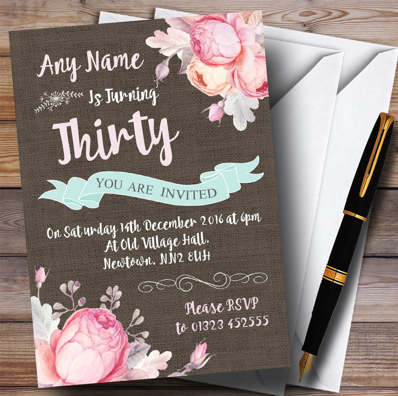Vintage burlap style floral 30th personalized birthday party vintage burlap style floral 30th personalized birthday party invitations solutioingenieria Choice Image