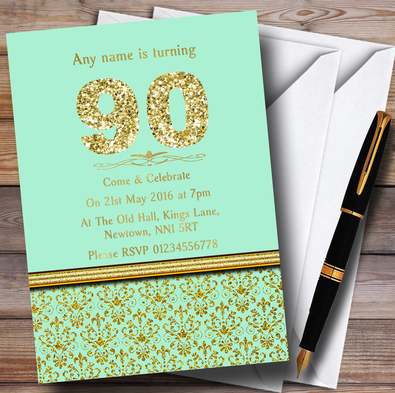Mint Green & Gold Vintage Damask 90Th Personalized Birthday Party ...