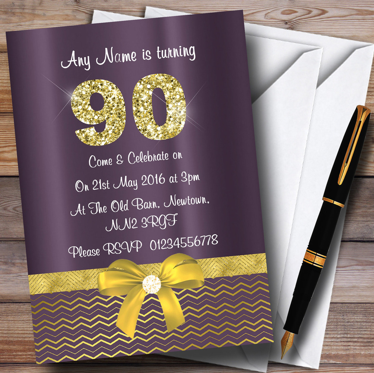 Purple Satin And Gold Bow 90Th Personalized Birthday Party ...