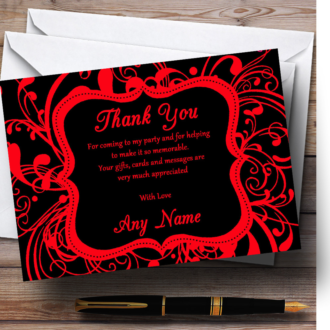 Black & Red Swirl Deco Personalized Birthday Party Thank You Cards ...