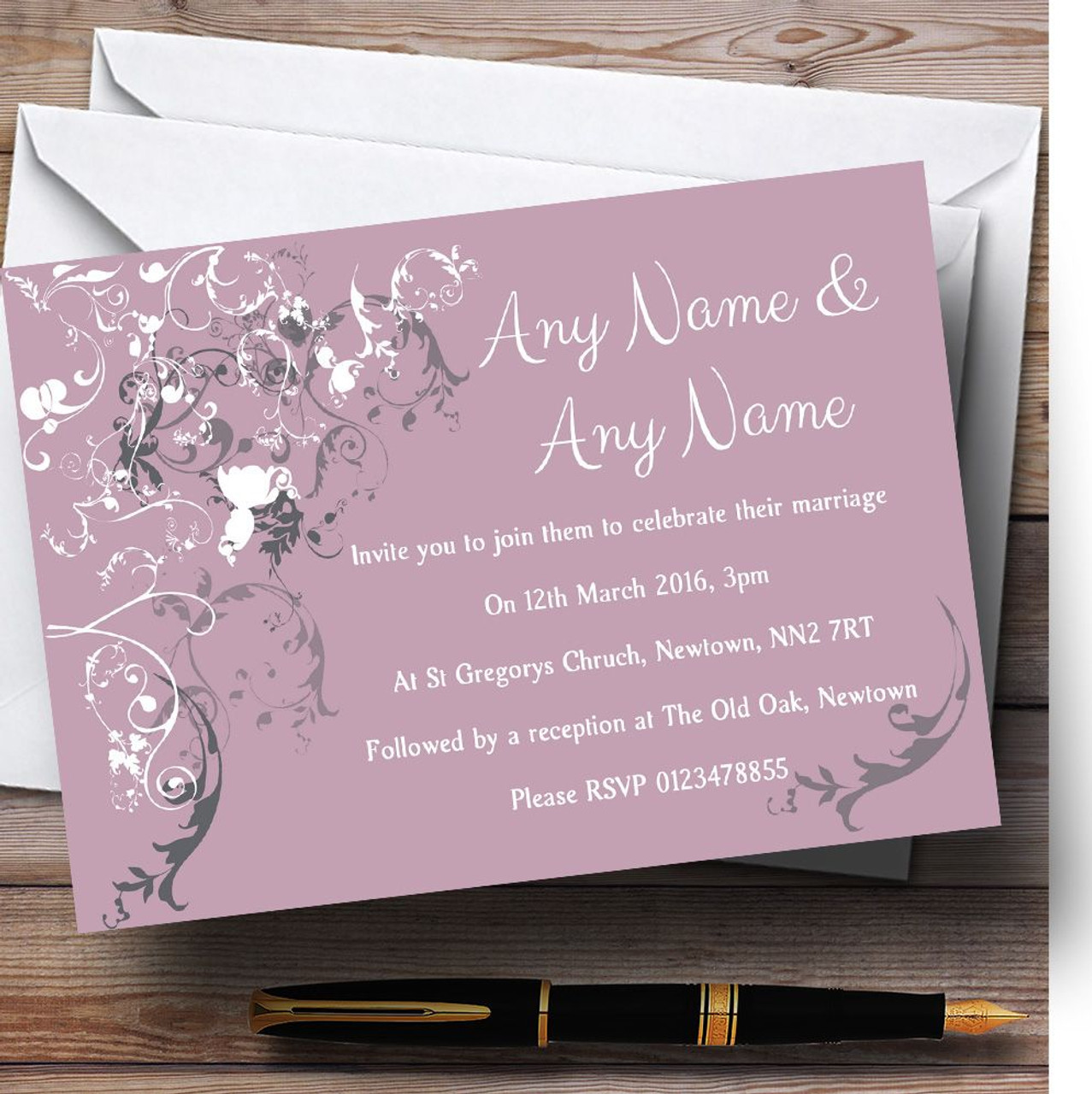 Lilac Vintage Shabby Chic Pattern Personalized Wedding Invitations ...