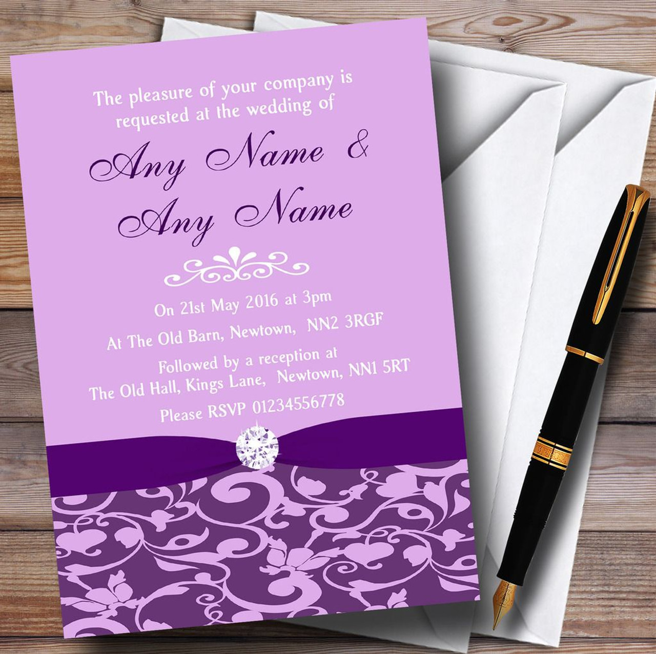 Cadbury Purple Vintage Floral Damask Diamante Personalized Wedding ...