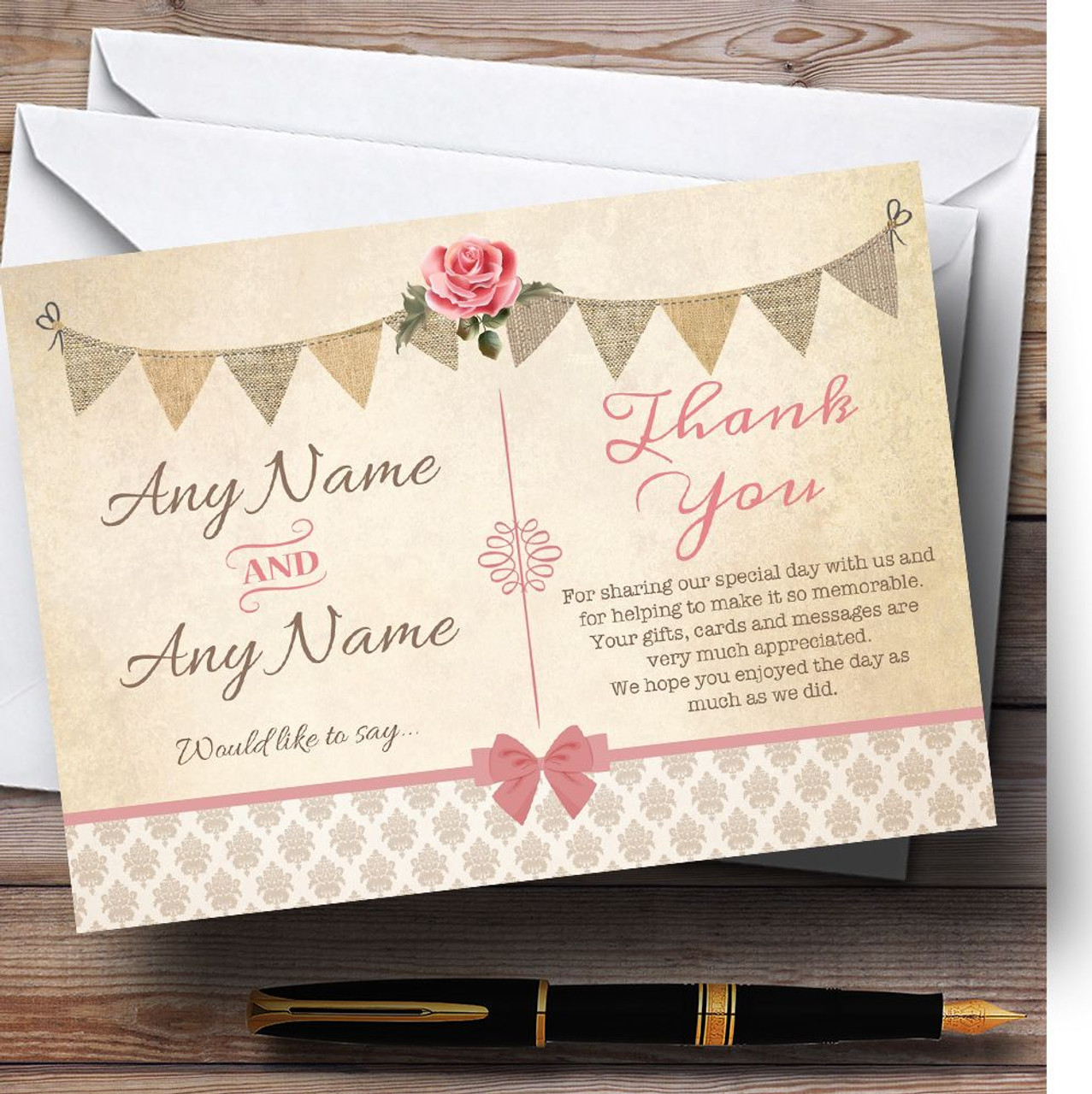 Vintage Rustic Style Bunting Pink Rose Personalized Wedding Thank ...