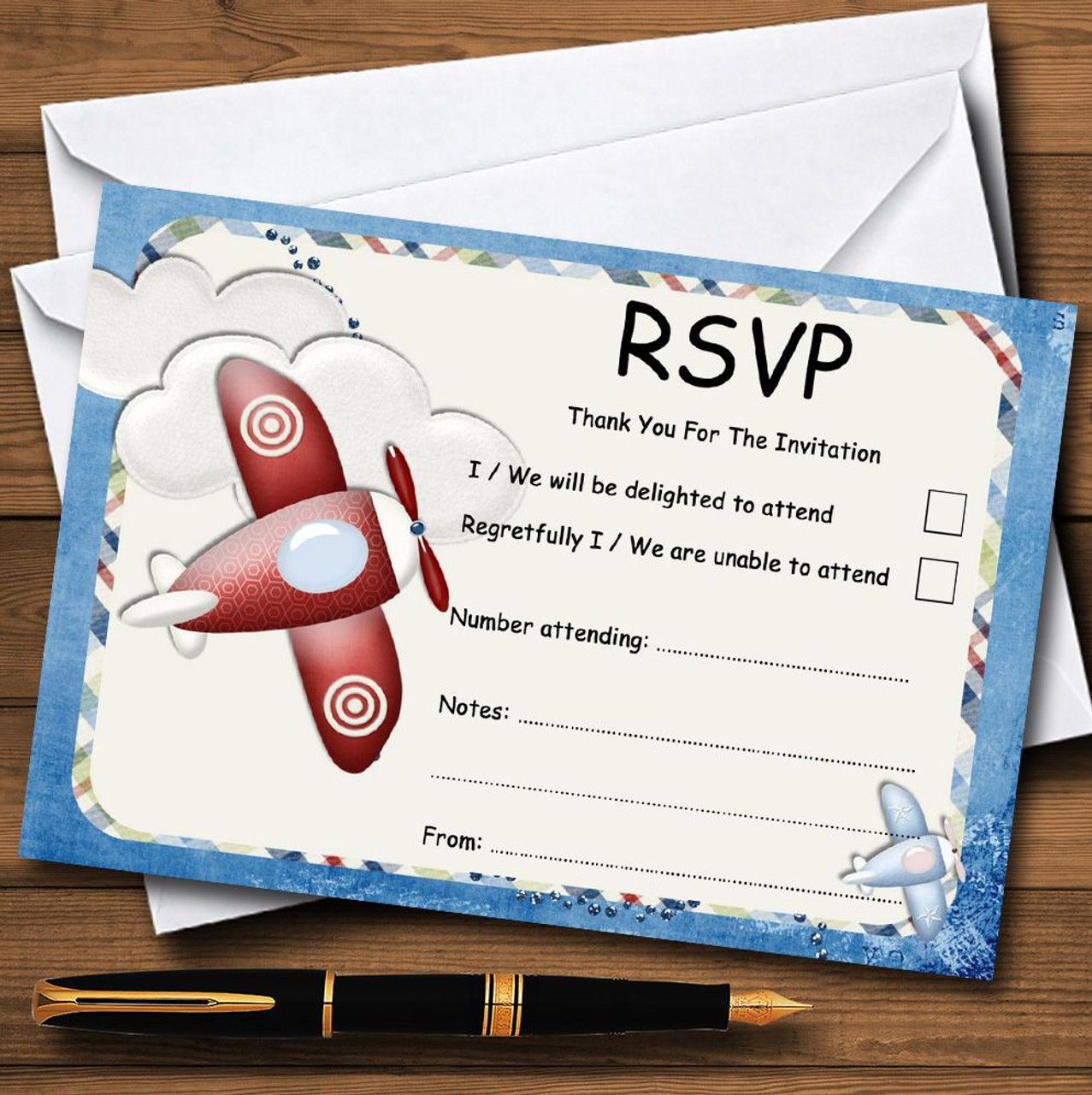 Aeroplane Blue Red Plane Personalized Rsvp Cards Red Heart Print