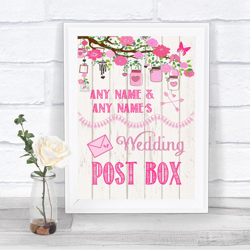 Pink Rustic Wood Card Post Box Personalized Wedding Sign