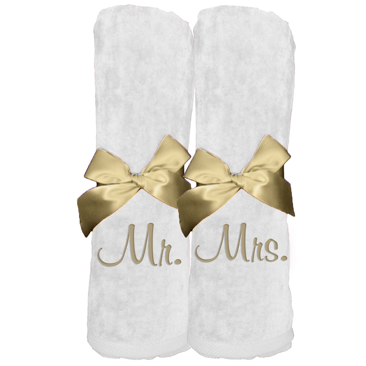 Beach Towel Set with Embroidered Mr. Mrs. - Zynotti