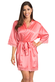 Lace Trimmed Satin Robe