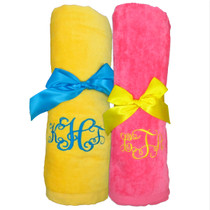 "Monogram Beach Towel Sample ""Yellow and Bright Pink"""
