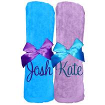 "Josh & Kate Beach Towel Sample ""Turquoise and Lavender"""