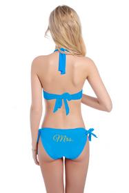 Customized Mrs. on Halter Top and Sash Tie Bikini Bottom with Glitter Print