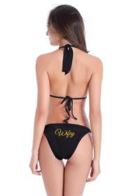Customized Wifey on String Halter and Sash Tie Bikini Bottom with Glitter Print