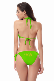 Customized Wifey on Triangle Top and String Bikini Bottom with Glitter Print